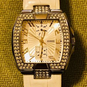 White Leather Guess watch